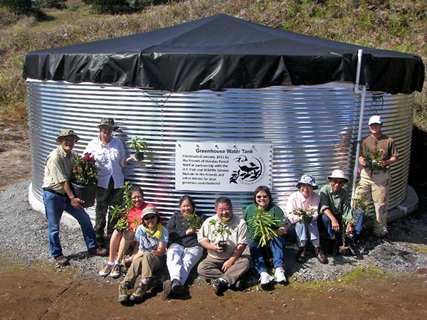 Water tank installed by the Friends of Hakalau Forest